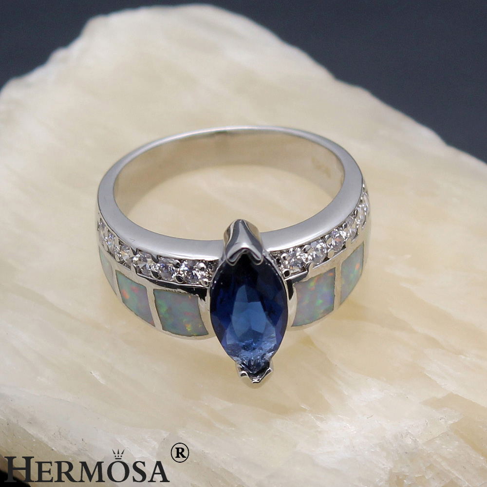 Big Promotion Women Natural Australian Opal Blue Sapphire925 Sterling Silver Fantasy Promise Ring Size 7 DF80
