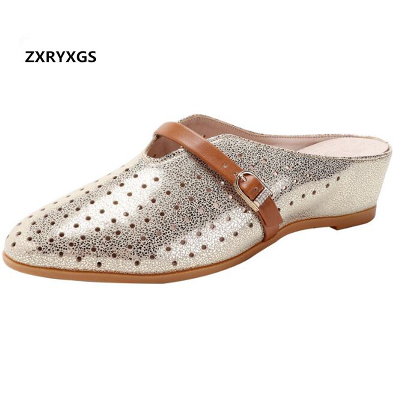 2019 Pointed Hollow Cowhide Summer Leather Slippers Fashion Sandals Flat Increase Within Wedge Sandals Women Sandals Plus Size2019 Pointed Hollow Cowhide Summer Leather Slippers Fashion Sandals Flat Increase Within Wedge Sandals Women Sandals Plus Size