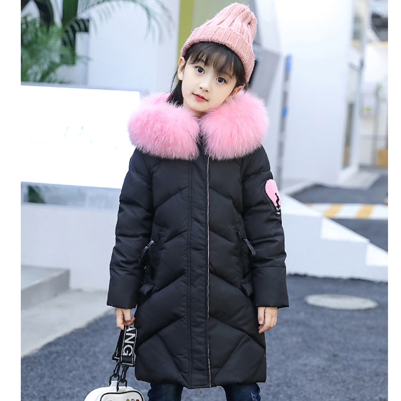 2017 New Kids Winter Fur Hooded Jackets For Girls Parkas Baby Girl Warm Coat Princess Children Thicken Outerwear 4 10 12 Years все цены