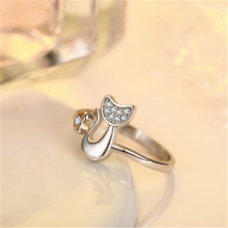 cat silver plated ring