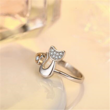 Cute Cat Silver Plated Ring
