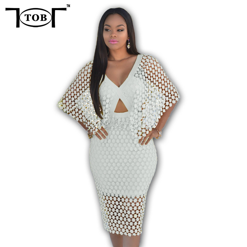 2017 summer women crochet dolman sleeves bodycon dress solid white sexy club v neck women clothing back zipper dresses XD840