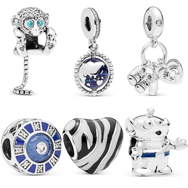 Valentine's day Zebra Cartoon Monkey Earth Bead Heart Clip Fit Women Pandora Charms Silver 925 original Bracelet DIY Jewelry
