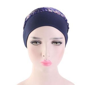 Image 3 - Women Muslim Hijab Caps Bandana Printed Turban Chemo Hats Long Hair Band Head Wrap Islamic Headscarf Hair Loss Hat Arab Fashion