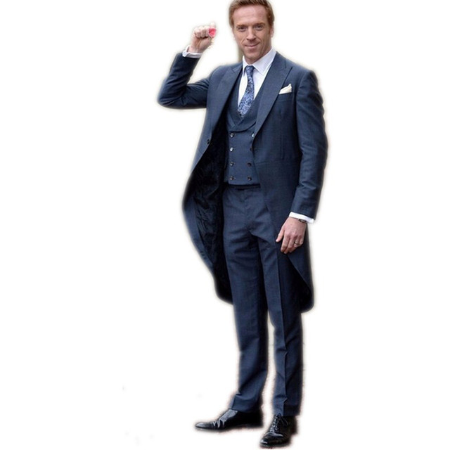 1a9e5240b6 Navy Blue Morning Suits With Pants Custom Made Grooms Mens Tuxedos Peak  Lapel One Button (Jacket + Pants+Tie +Vest)