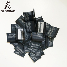 Free shipping woven label tags handmade cloth labels 2*5 cm center folded black 100pcs lot