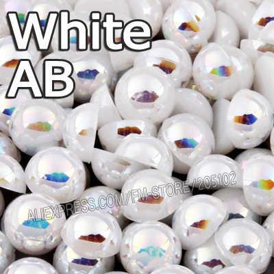 ปิดสีขาวสีเบจABและสีขาวABครึ่งรอบแบนกลับลูกปัดมุกผสมขนาด2 3 4 5 6 8 10มิลลิเมตรABSไข่มุกเทียมสำหรับDIYเล็บศิลปะ