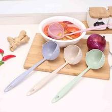 VOGVIGO 4 Colors 2 In 1 Long Handle Soup Spoon Home Strainer Cooking Colander Kitchen Scoop Plastic Ladle Tableware Accessories