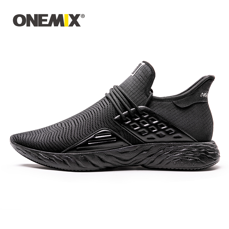 ONEMIX 100% Original Sneakers Men Running Shoes Black Big Size 2019 New Simple Lightweight Male Outdoor Training Jogging Shoes