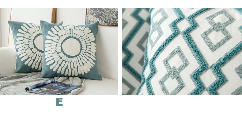 Home Decor Embroidered Cushion Cover Grey Blue/White Geometric Floral Canvas Cotton Suqare Embroidery Pillow Cover 45x45cm