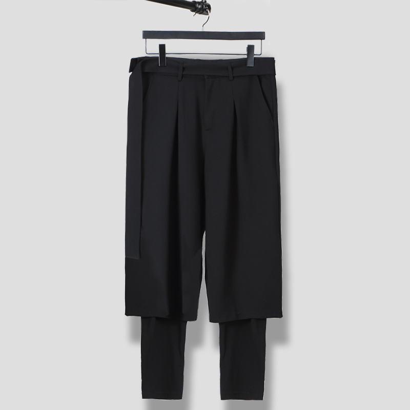 S-6XL!!Spring and summer  is original and loose male false two restore ancient ways waist fasten to take wide leg trousers