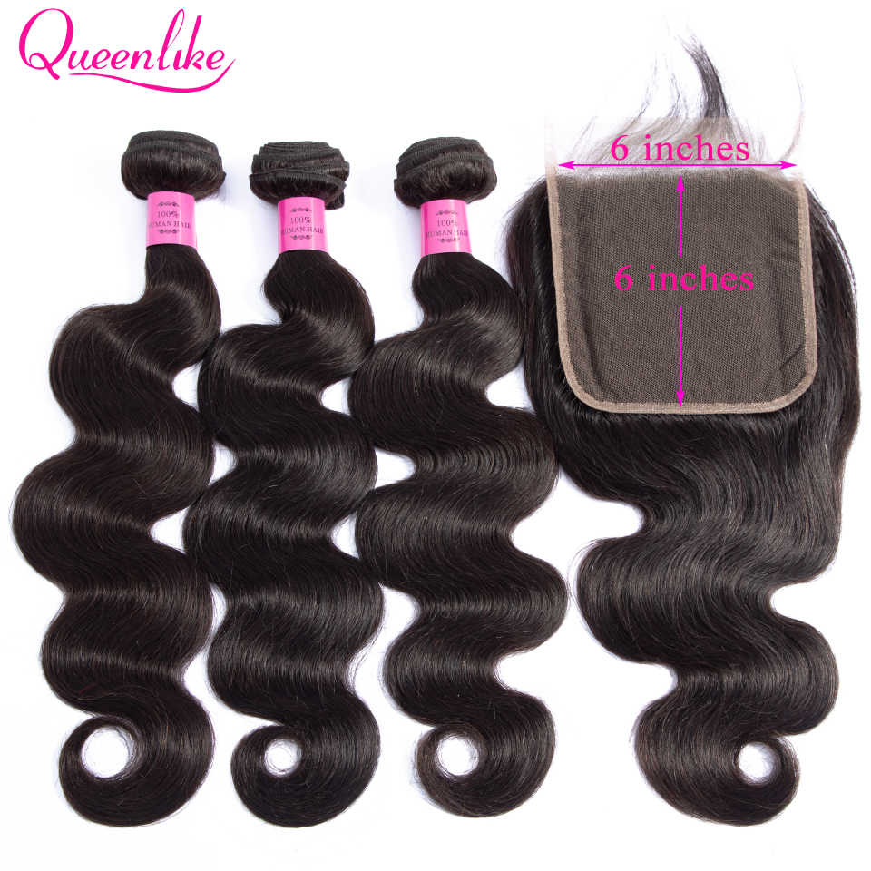 Queenlike Hair 3 Bundles Brazilian Body Wave With 6x6 Lace Closure Double Weft Non Remy Human Hair Bundles With Closure