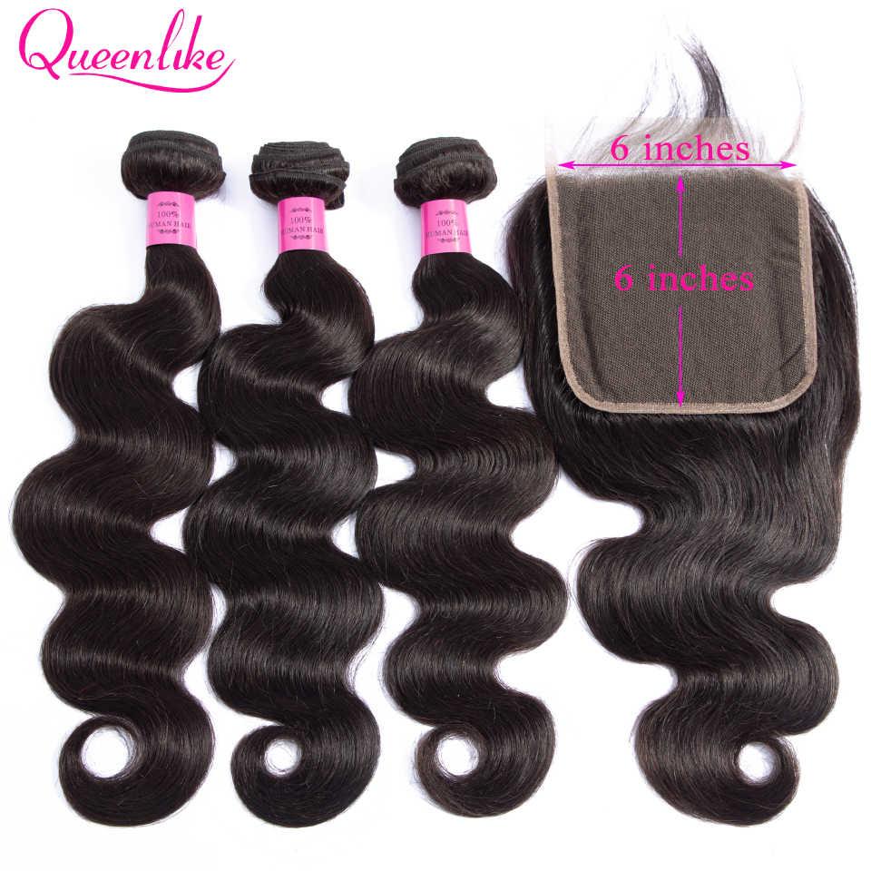 Queenlike שיער 3 חבילות ברזילאי גוף גל עם 6x6 תחרה סגירת כפול ערב ללא רמי שיער טבעי חבילות עם סגירה