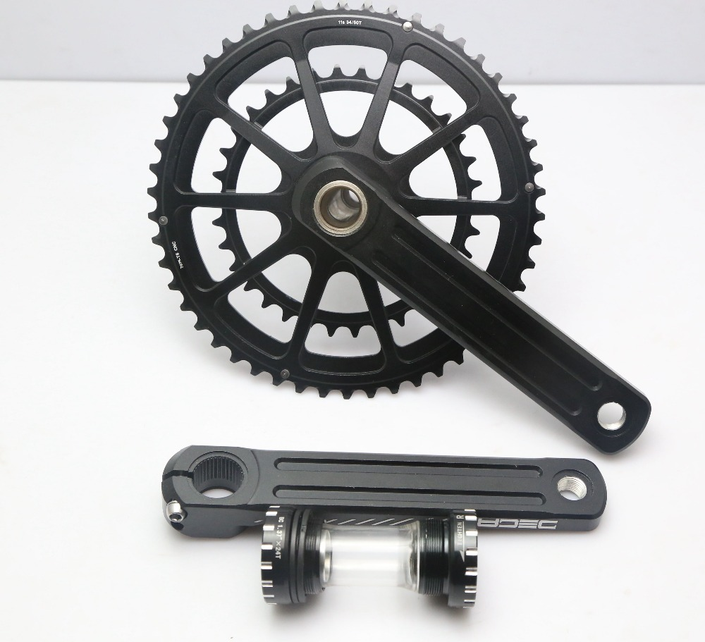Deca Road Bike Superlight Crankset  Black  For Road  Bike 50/34 170mm Bb86 790g