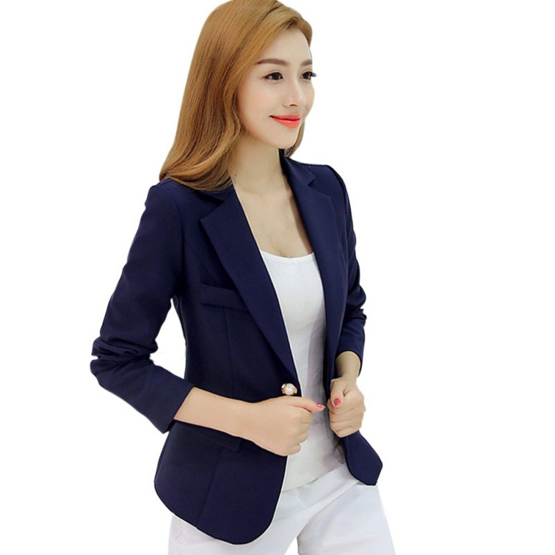 Frauen Herbst Blazer Langarm Single Button Damenjacke Büro OL Slim - Damenbekleidung - Foto 2