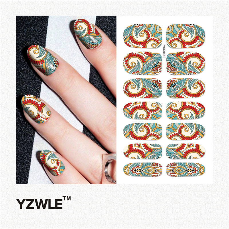 YZWLE 1 Sheet DIY Decals Nails Art Water Transfer Printing Stickers Accessories For Manicure Salon (YSD046) yzwle 30 sheets diy decals nails art water transfer printing stickers accessories for nails