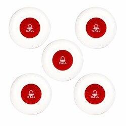 5 piezas camarero sistema de llamada sin hilos para el restaurante Hotel transmisor botón Llamada Pager Equipo Impermeable F3250C