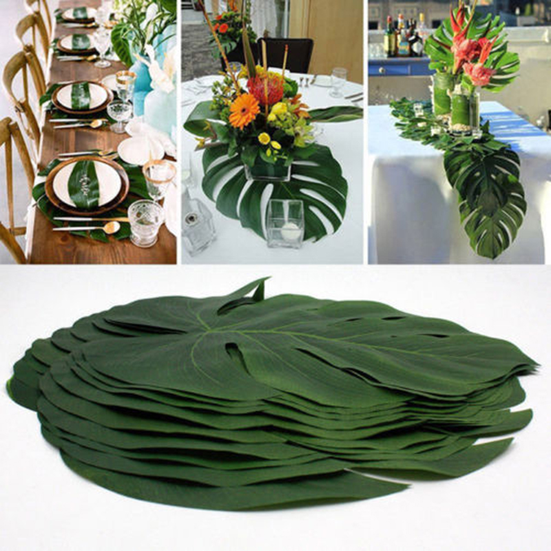 12Pcs/Set Green Jungle Artificial Leaf Tropical Palm Leaves Island Style Simulation Plan ...
