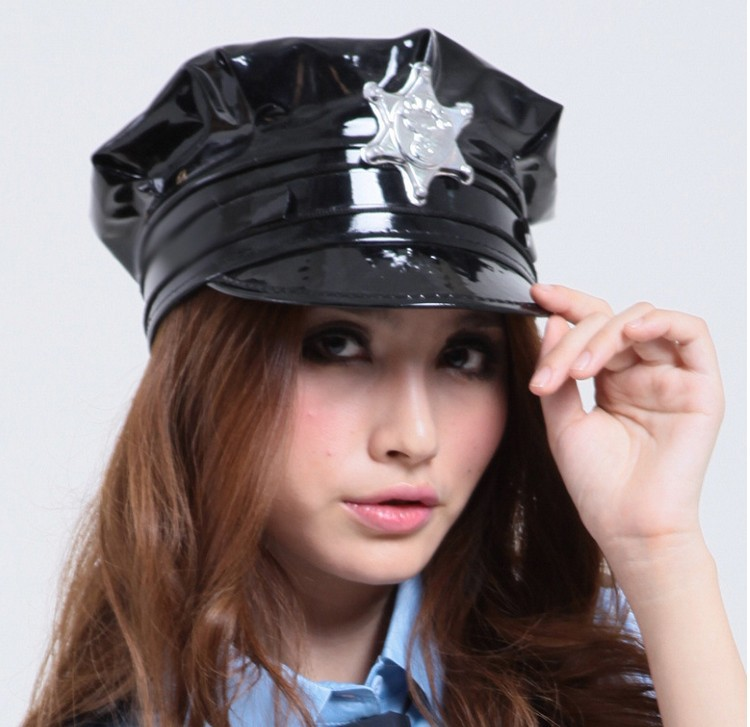 Sexy Black Girlladys Police Uniform Pu Leather Latex Cosplay Sex Hats Caps H1706-In -3877