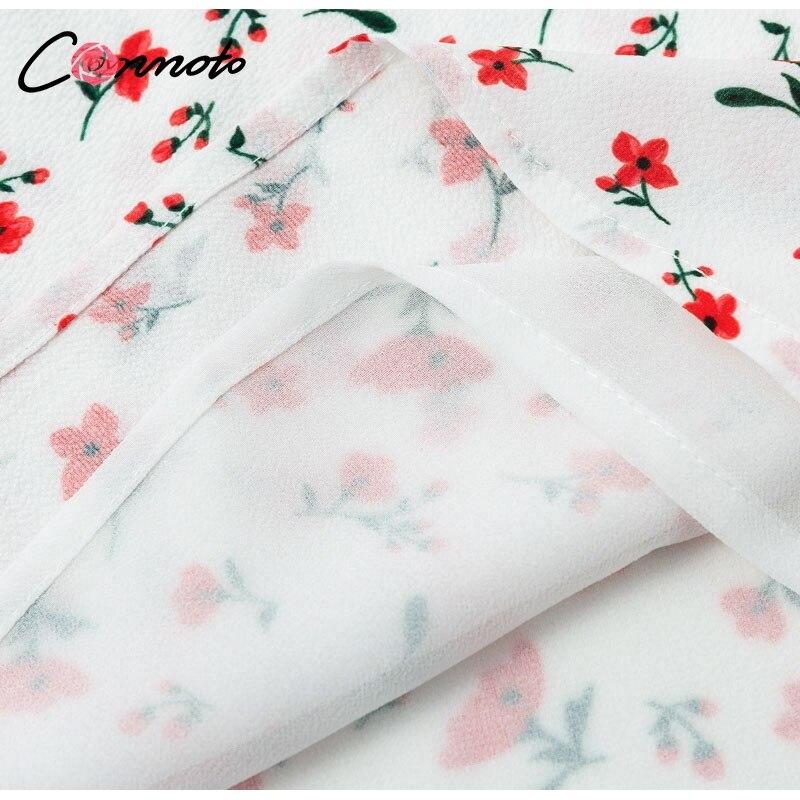 Conmoto Casual Floral Print Short Dress Women 19 Summer Holiday Sexy Beach Chiffon Dress Dress Femme Lace Up Dress Vestidos 21