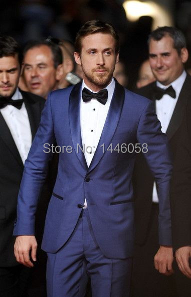 Custom Made Men 3 Piece Suit With Pants One Botton Royal Blue