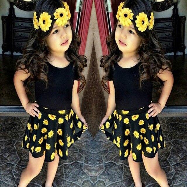2a699c4d75f4 suton Baby Girls Clothes 2018 Summer Fashion Black Set Flower Short Sleeve T -shirt+skirt 2pcs set Kids Clothing Suit 2-7 Years