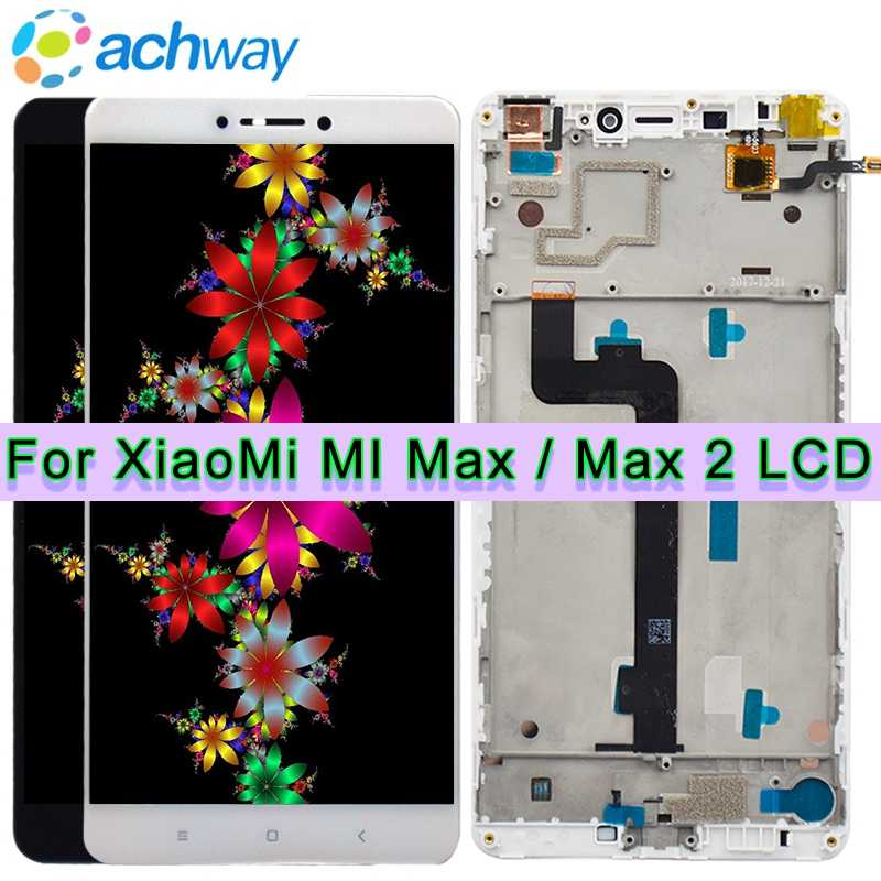 "Black NEW 6.44"" Xiaomi Mi MAX LCD Display Touch Screen Digitizer Assembly With Frame Replacement Parts For Xiaomi Mi MAX 2 LCD"