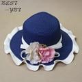 Caliente venta! 2016 moda elegent flores de la onda paja sombrero de ala ancha sombrero para el sol visera sombreros mujer verano