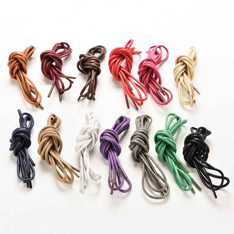 fashion casual shoelaces high quality Waxed Round shoe laces Shoestring Martin Boots Sport Shoes Cord Ropes