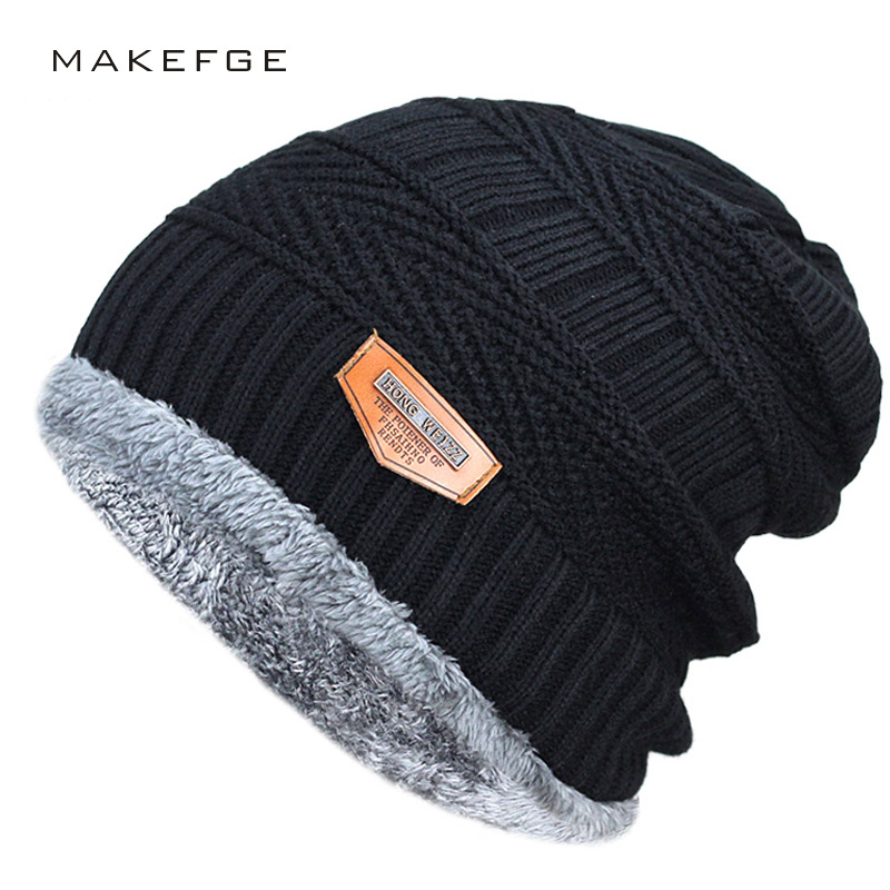 Men's winter hat 2017 fashion knitted black hats Fall Hat Thick and warm and Bonnet Skullies Beanie Soft Knitted Beanies Cotton(China)