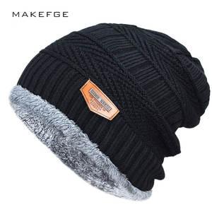 MAKEFGE Men s winter black Hat warm Bonnet Knitted Cotton 5f349ab61da
