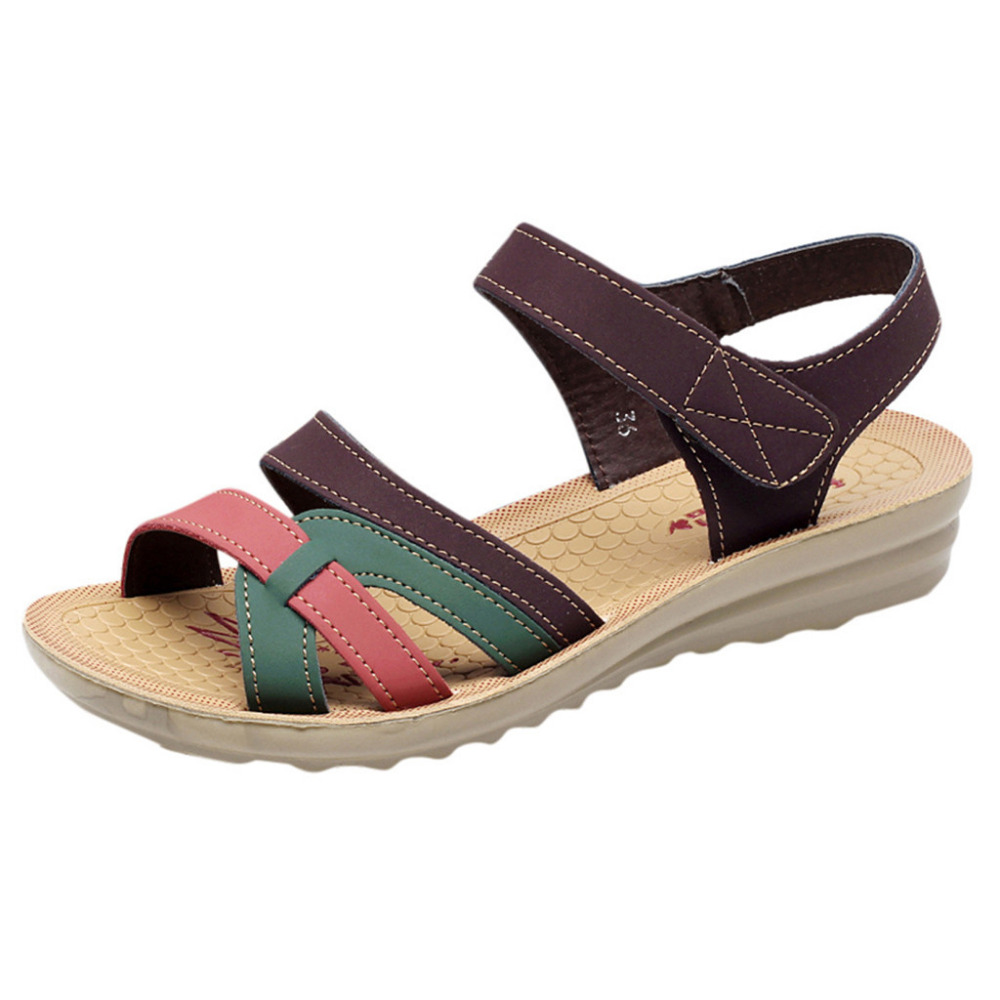 Women Sandals Summer Fashion Leather Sandals Wedges Comfort Big Size Shoes Hook Loop Casual Wedge Sandals Zapatos De Mujer 2019 Women Sandals Summer Fashion Leather Sandals Wedges Comfort Big Size Shoes Hook Loop Casual Wedge Sandals Zapatos De Mujer 2019