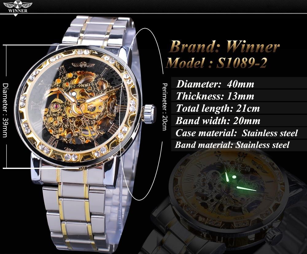 Winner Transparent Fashion Diamond Luminous Gear Movement Royal Design Men Top Brand Luxury Male Mechanical Skeleton Wrist Watch