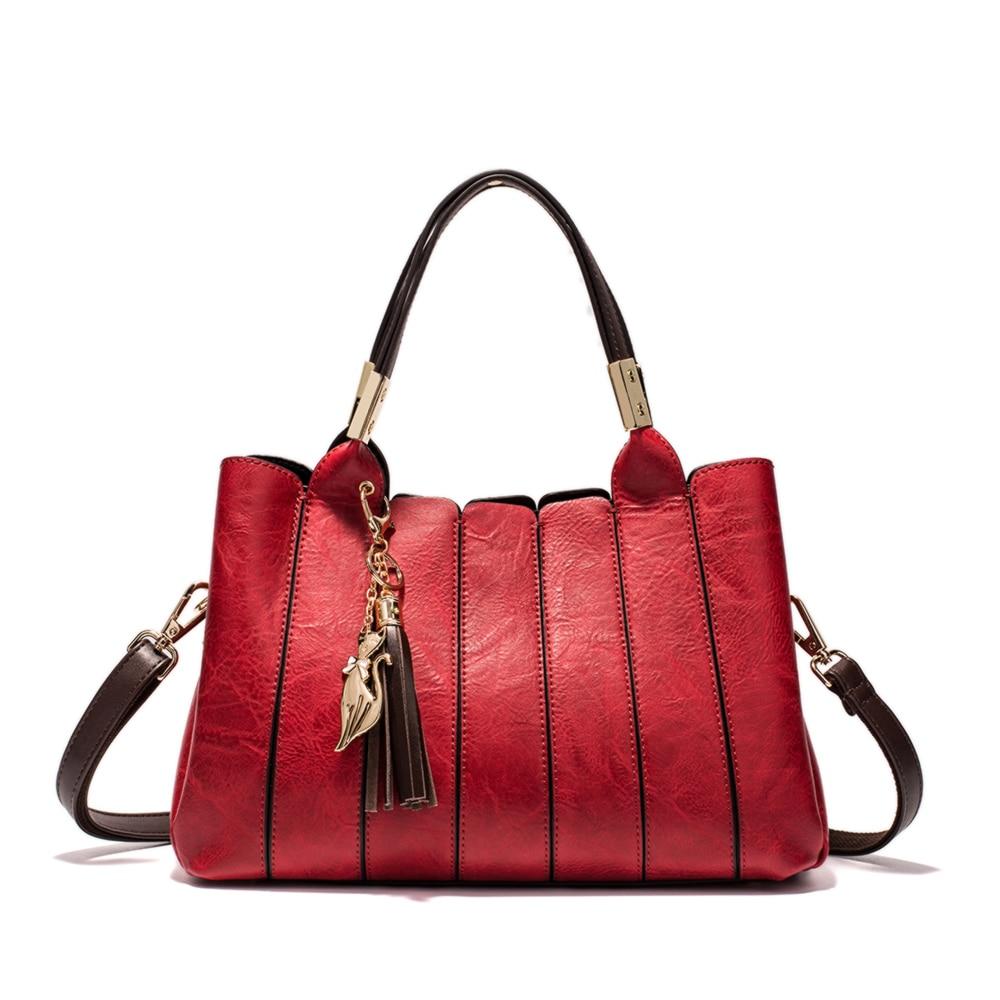 MIYACO Vintage femmes sac à main de luxe femme sac à bandoulière Messenger sac fourre-tout haut en cuir sacs à main avec gland renard sac à main - 2