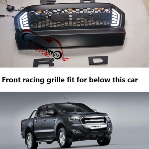 Front Racing grille for ranger T7 grills WITH LED DRL black front mask grill trims for Ranger wildtrak T7 txl pickup CAR 2015-17 txl желтый