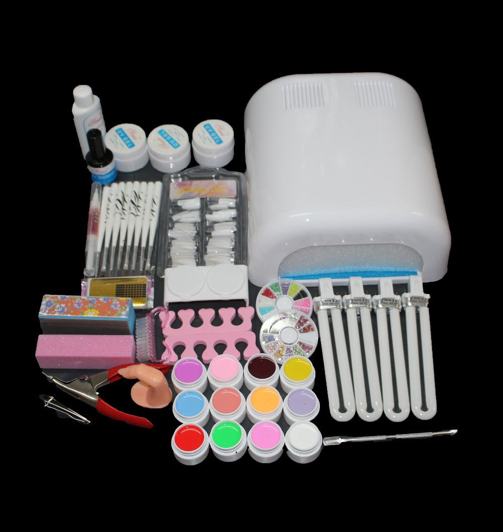Nic-92 Hot Sale nails gel Professional 36w Curing UV Dryer Lamp 12 Colours Nail Art Manicure Tools Kit For Beauty Nails 24 pcs hot sale golden rivet splicing nail art fake toe nails