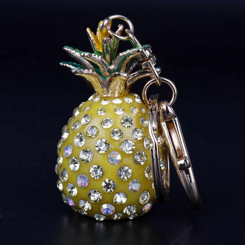 Для женщин аксессуары 3D игрушка брелок в виде ананаса стразы брелок украшения в форме фруктов автомобильный держатель сумки