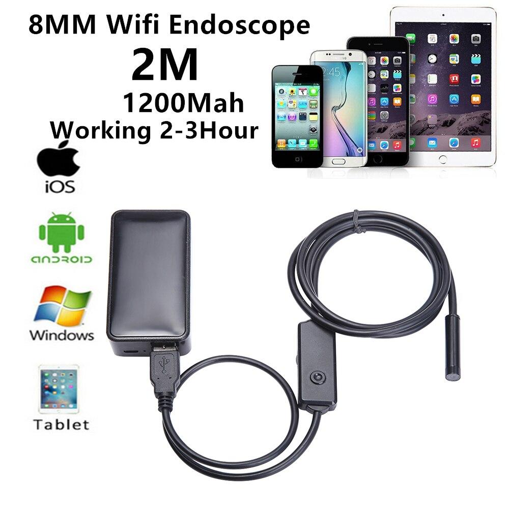 ФОТО Wireless WiFi Endoscope iPhone 8mm2M Len 6 LED Waterproof Borescope HD 720P Inspection Video Endocopy Camera Videcam Inspection