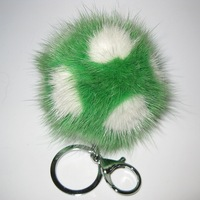 Real Fur Ball Bag Pendant Keychains 7cm Solid Round Lovely Unisex Really Mink POMPOM Football Keychain