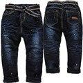 3979 inverno quente calças de brim calças meninos elástico na cintura denim e velo pequenos Harem Pants Haren Double-deck crianças Grossas calças