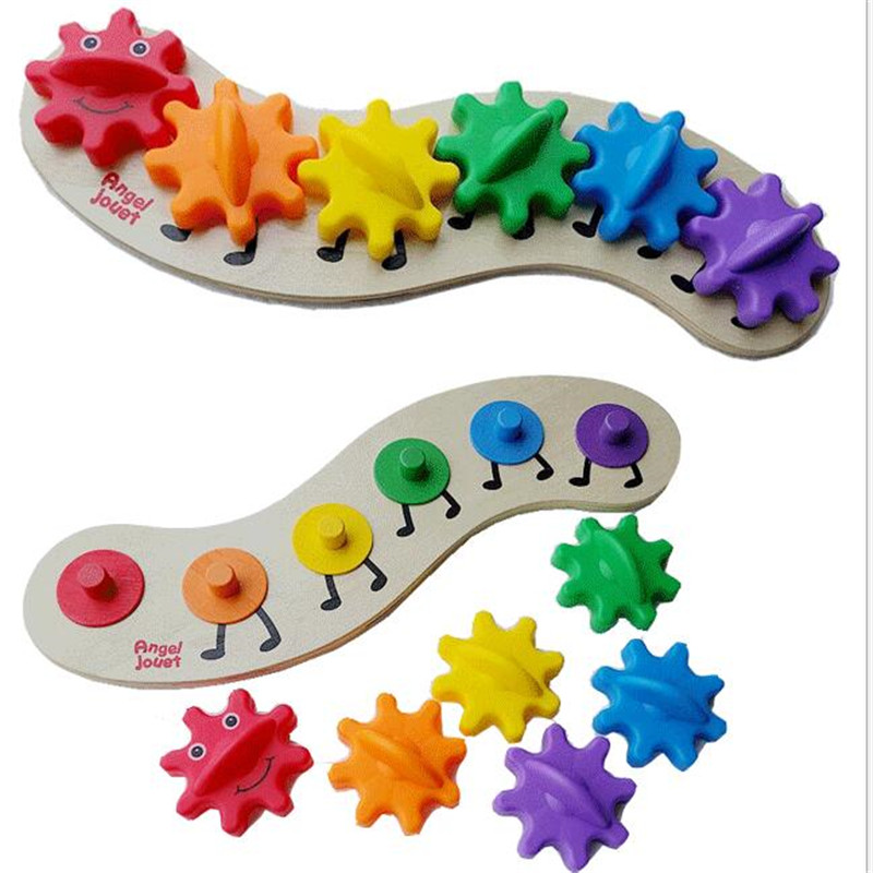 6 Pièces Montessori En Bois Roue Dentée Blocs Coloré Arc-en-ciel Jouet Setkids Jouets Pour Enfants Oyuncak Brinquedos Juguetes Brinquedo