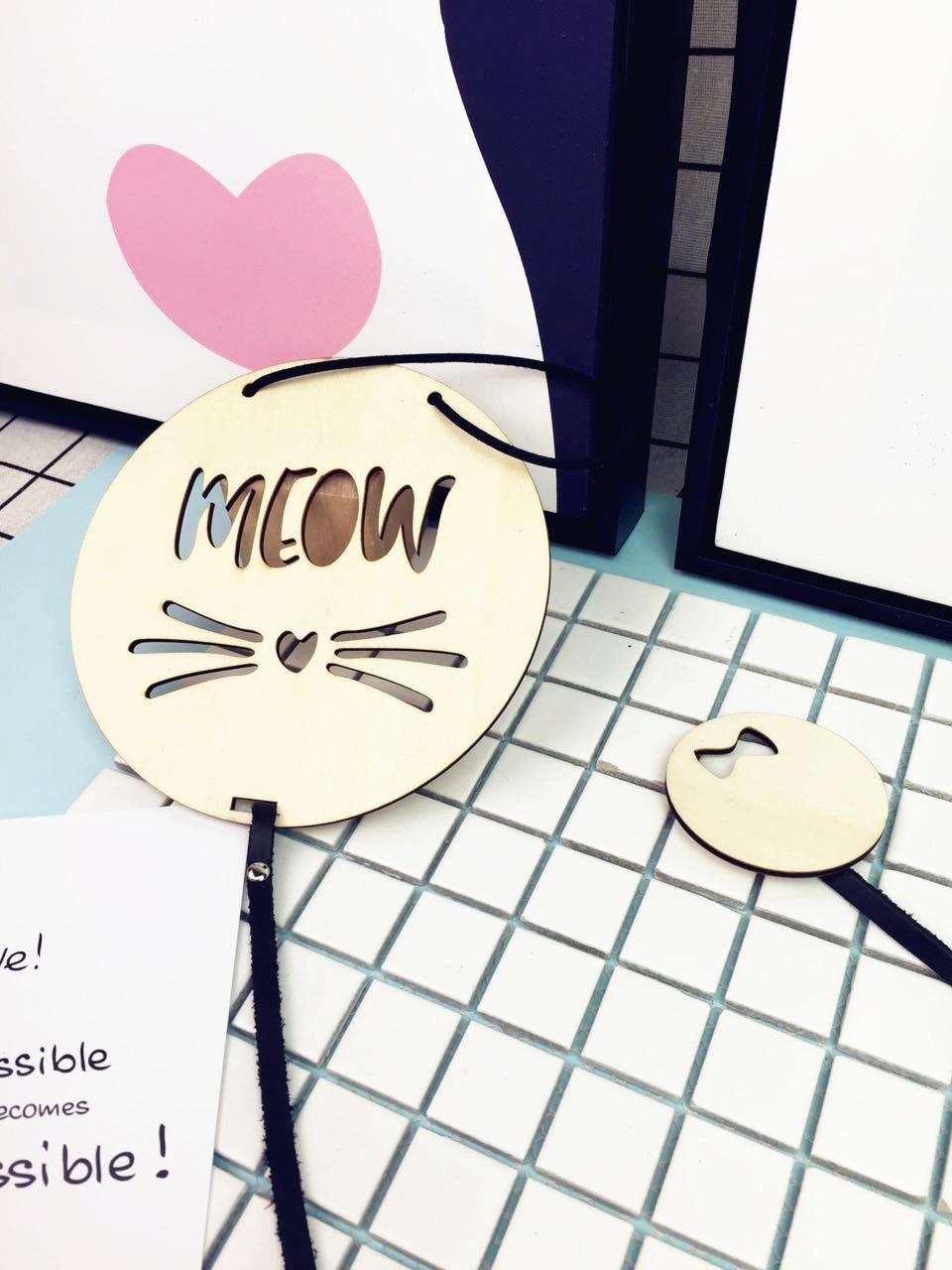 Taxta Meow Pişik Şəkil Çərçivəli Kolaj Hemciyi İp / Klip Kart - Ev dekoru - Fotoqrafiya 4
