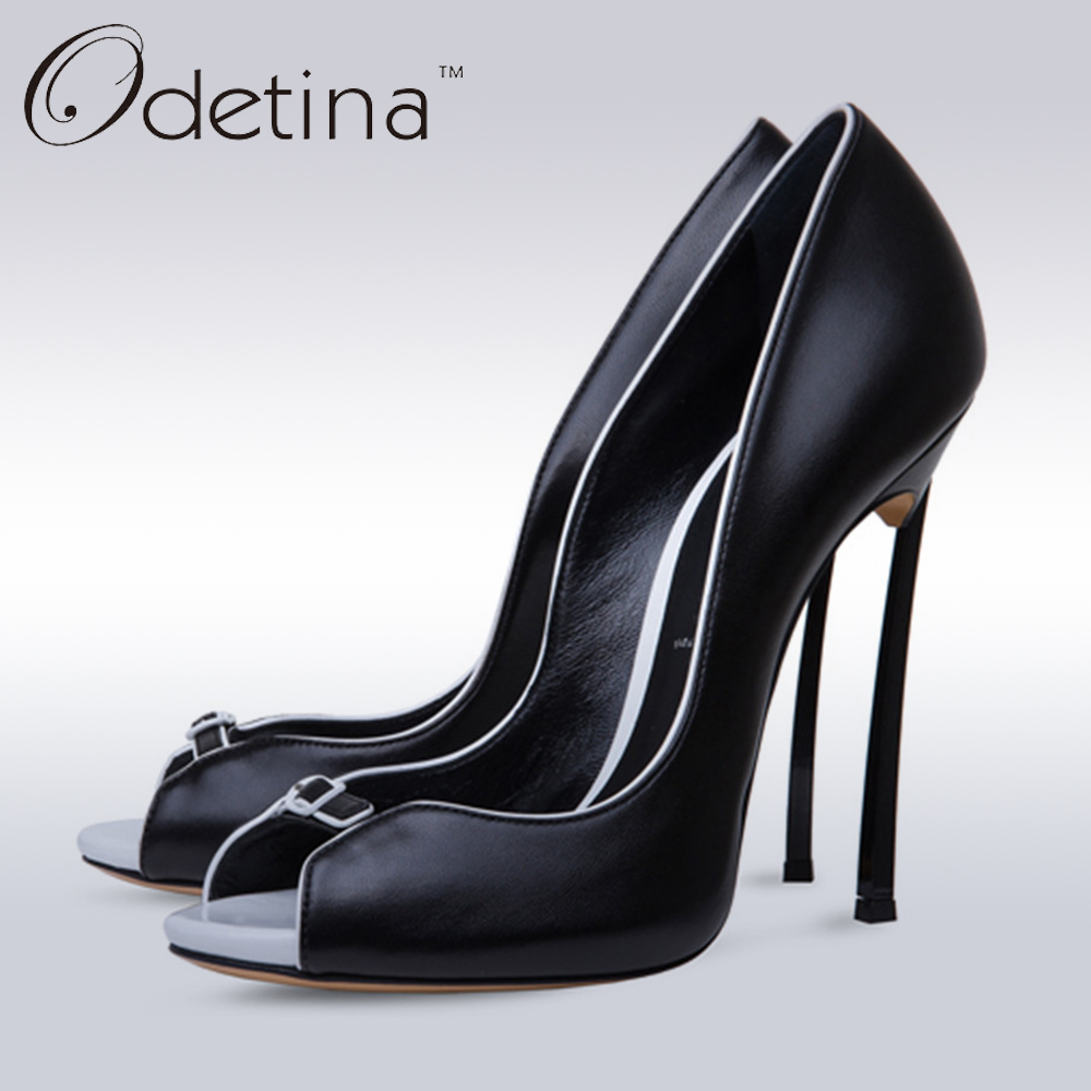 Odetina 2018 Fashion Sexy Peep Toe Pumps Super High Stiletto Heels Slip On Party Shoes Dress Pumps Wedding Shoes White Thin Heel big size high spike heel platform women pumps peep open toe leopard patent leather party wedding slip on sexy lady thin stiletto