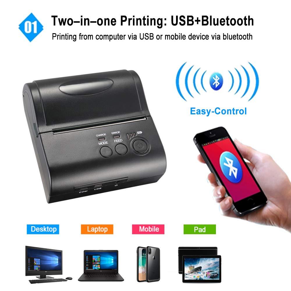Mini imprimante thermique portative de billet de reçu de Bluetooth de 80mm pour la Machine de facture d'android iOS de téléphone Portable pour le magasin - 2