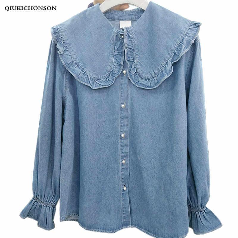 45694902 Korean fashion fresh preppy style frilled big peter pan collar long sleeve  denim shirt women kawaii