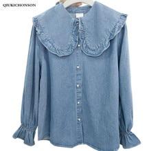 Korean fashion fresh preppy style frilled big peter pan collar long sleeve denim shirt women kawaii tops camisa jeans feminina цена в Москве и Питере