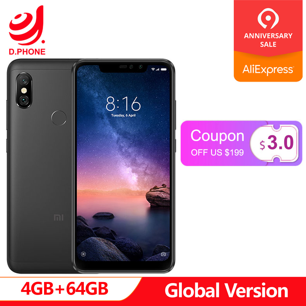 Global Version Xiaomi Redmi Note 6 Pro 4GB RAM 64GB ROM Snapdragon 636 Octa Core 6.26 Notch Full Screen 4000mAh SmartphoneGlobal Version Xiaomi Redmi Note 6 Pro 4GB RAM 64GB ROM Snapdragon 636 Octa Core 6.26 Notch Full Screen 4000mAh Smartphone