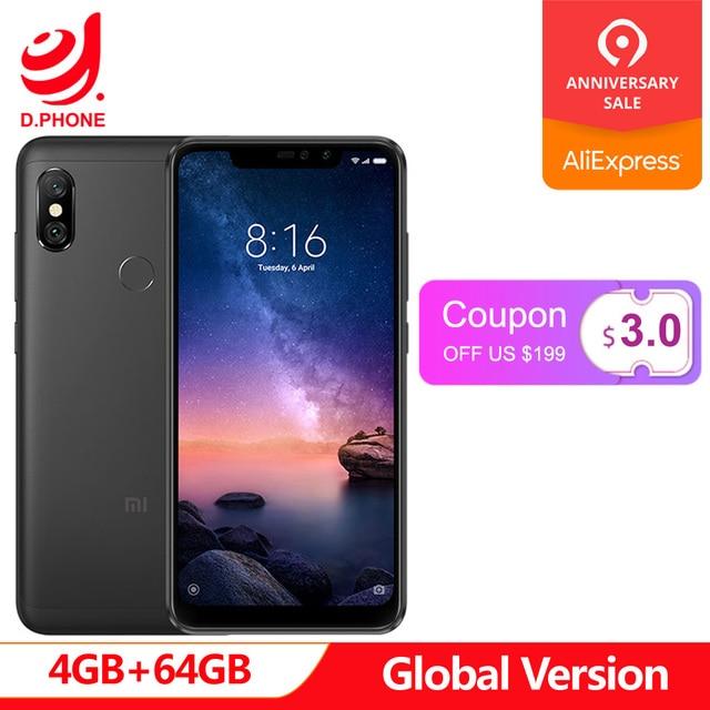 """Глобальная версия Xiaomi Redmi Note 6 Pro 4 GB Оперативная память 64 Гб Встроенная память Snapdragon 636 Octa Core 6,26 """"Нотч полный Экран 4000 mAh смартфон"""