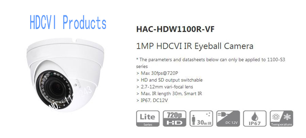 Free Shipping DAHUA CCTV Security Camera 1MP HDCVI IR Eyeball Camera IP67 without Logo HAC-HDW1100R-VF free shipping dahua cctv security camera 2mp hdcvi ir eyeball camera ip67 without logo hac hdw1220r vf