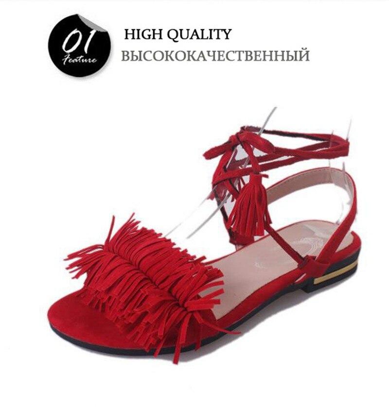 COOTELILI Real Fur Ankle Strap Gladiator Sandals Women Flats 2019 Summer Tassel Shoes Ladies Wedding Beach Sandals BOHEMIAN 42